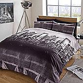 Dreamscene Duvet Cover Set, Skyline Union Jack - Charcoal