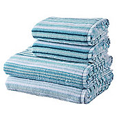 100% Cotton 2 Hand 2 Bath Towel Bale - Teal Stripe