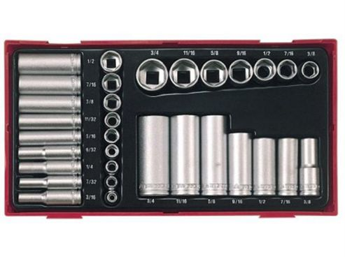 Teng TTAF32 1/ 4-3/ 8-inch Regular/ Deep Socket Set Drive (32 Pieces)