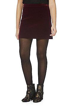 F&F Quilted Velvet Skirt - Burgundy