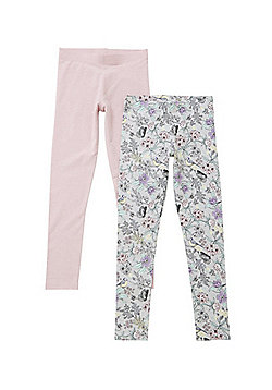 F&F 2 Pack of Floral Bird and Plain Leggings - Multi