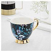 Fox & Ivy Teal Floral Footed Mug