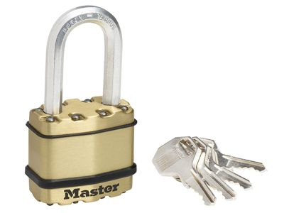 Master Lock Excell Brass Finish 45mm Padlock 4-Pin - 38mm Shackle