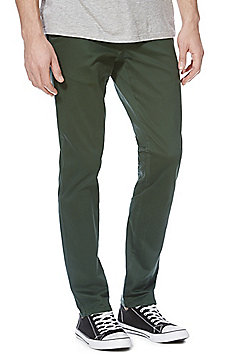F&F Sateen Slim Fit Stretch Chinos With Belt - Green