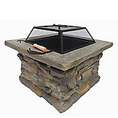 Palm Springs Outdoor Stone Square Patio Fire Pit