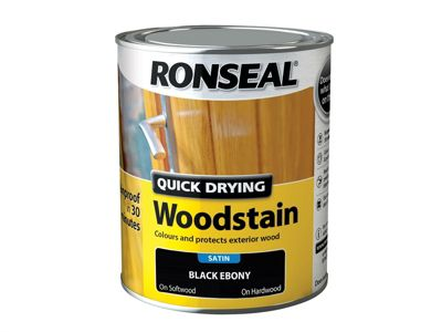 Ronseal Woodstain Quick Dry Satin Ebony 750ml