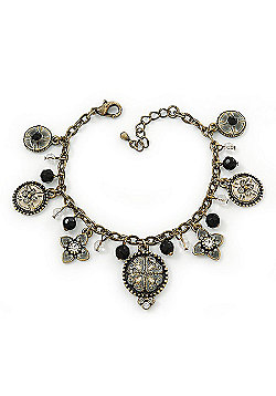 Vintage Inspired Floral, Bead Charm Bracelet In Bronze Tone (Grey, Black, White) - 16cm Length/ 3cm Extension