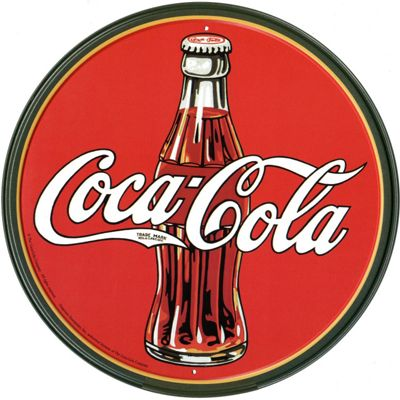 Coca-Cola Coca Cola Vintage Coke Bottle and Logo Tin Sign