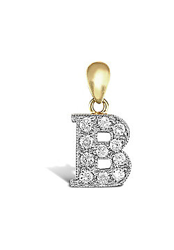 9ct Yellow Gold Cubic Zirconia Initial Charm Identity Pendant - Letter B