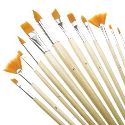 Value Brush Set Gold Taklon LH Assorted 12 Pack