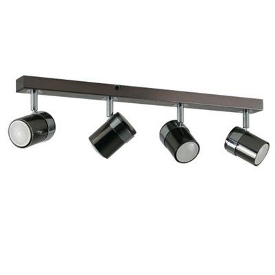 Rosie 4 Way Straight Bar Ceiling Spotlight, Black Chrome & Chrome