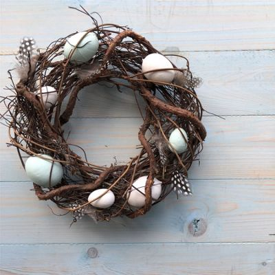 Easter Wreath with Blue & White Eggs