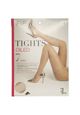 F&F Oiled 7 Denier Tights Natural M