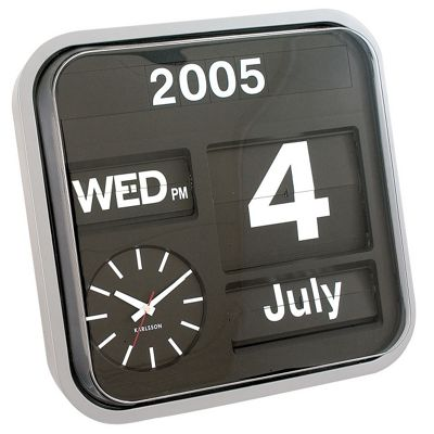 Karlsson Big Flip Wall Clock - Silver