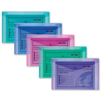 Snopake Polyfile Electra Wallet File Polypropylene Foolscap Assorted Ref 10088 [Pack 5]