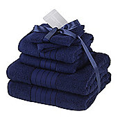 Dreamscene Luxury Egyptian Cotton 6 Piece Bath Towel Set - Navy