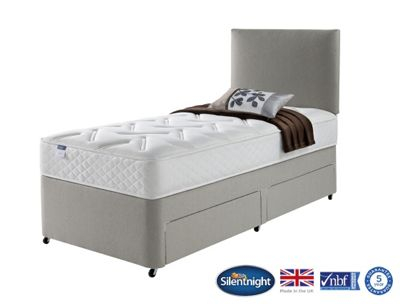 Silentnight Windsor Single Divan Bed, Non-Storage, Miracoil Luxury Memory