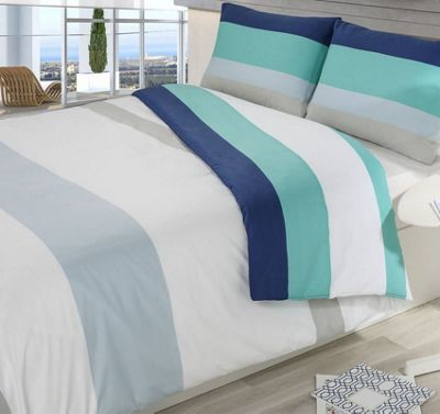 Blue, Colour Block Stripe Double Duvet