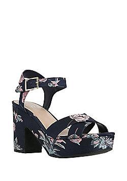 F&F Floral Chunky Platform Heeled Sandals - Blue