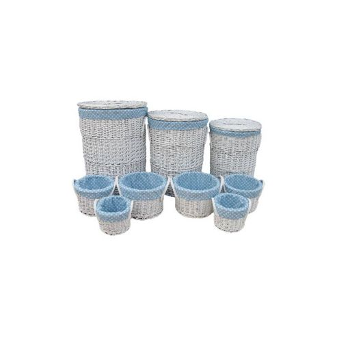 Wicker Valley Round Laundry and Storage in Blue Spot (Set of 9)