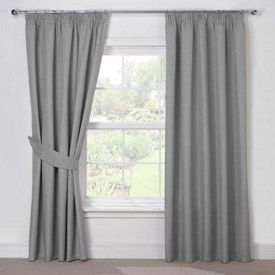 Julian Charles Luna Silver Grey Blackout Pencil Pleat Curtains - 44x90 Inches (112x229cm)