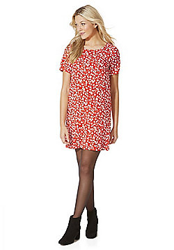 Vila Floral Short Sleeve Dress - Red
