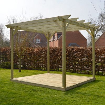 Garden Pergola and Decking Kit - 3.6m x 3.6m - Sculpted Rafter End