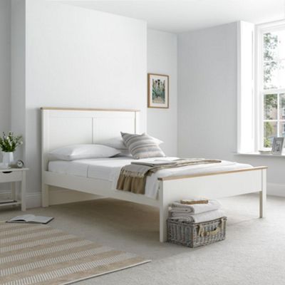 Happy Beds Vigo Wood Low Foot End Bed with Open Coil Spring Mattress - White - 3ft Single