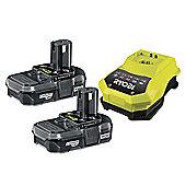 Ryobi RBC 18LL One+ Batteries & Charger 18 Volt 2 x 1.3Ah Li-Ion