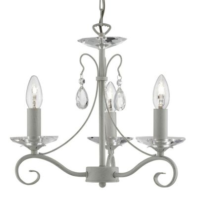 VERONA 3 LIGHT CEILING, CREAM/GOLD, CLEAR GLASS SCONCE & PEAR-DROP DECO