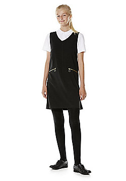 F&F School Soft Touch V-Neck Pinafore - Black