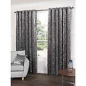 Crushed Velvet Grey Eyelet Curtains - 66x72 Inches (168x183cm)