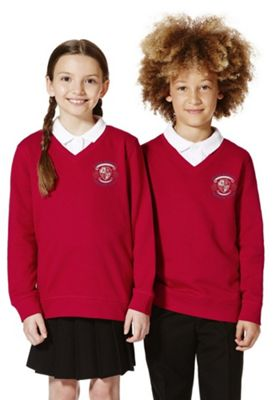 Unisex Embroidered V-Neck School Sweatshirt with As New Technology 14-15 years Red