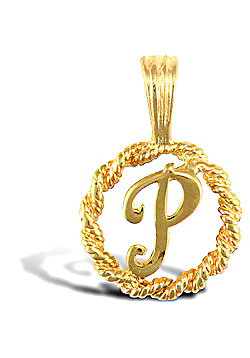 Jewelco London 9ct Gold Rope Initial ID Personal Pendant, Letter P - 0.9g