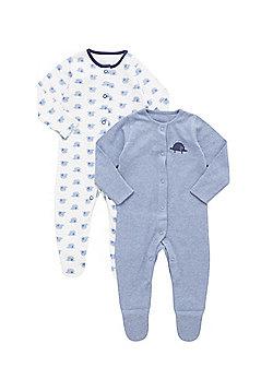 F&F 2 Pack of Dinosaur Print Sleepsuits - Blue & White