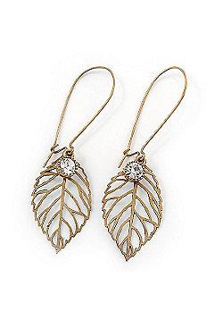 Vintage Inspired Diamante Filigree 'Leaf' Drop Earrings In Burn Gold Tone - 65mm Length