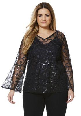 Lovedrobe Sequin Bell Sleeve Overlayer Plus Size Top 16 Black