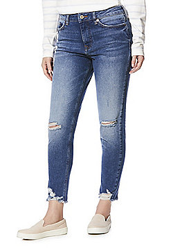 F&F Chewed Hem Mid Rise Relaxed Skinny Jeans - Mid wash