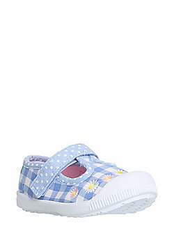 F&F My First Shoes Floral Gingham T-Bar Shoes - Blue