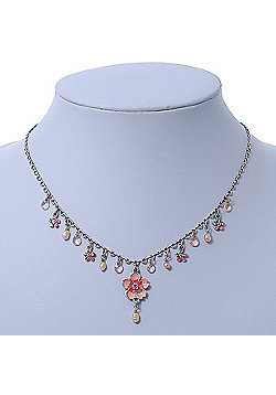 Vintage Inspired Pink Enamel, Crystal Flowers, Freshwater Pearl Necklace In Antique Silver Metal - 38cm Length/ 6cm Extension