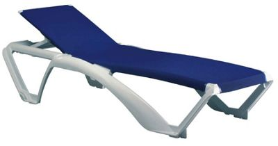 Resol Marina Sun Lounger - White Frame with Blue Canvas Material