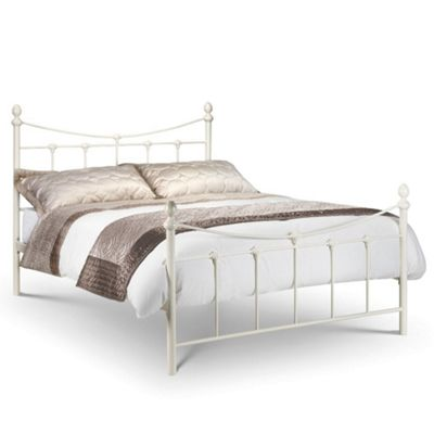 Happy Beds Rebecca Metal High Foot End Bed with Pocket Spring Mattress - Stone White - 3ft Single