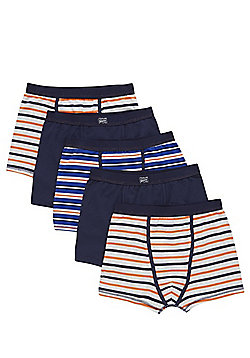 F&F 5 Pack of Striped and Plain Trunks - Blue