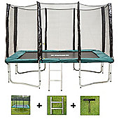 Up and About Rectangular 9x14ft Jump Easy Trampoline Package with Free Ladder and Building Tool