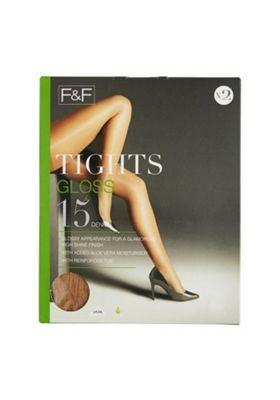 F&F 2 Pack of Gloss 15 Denier Tights L Natural