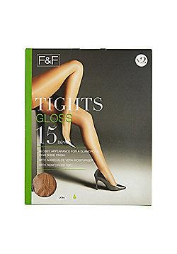 F&F 2 Pack of Gloss 15 Denier Tights - Natural