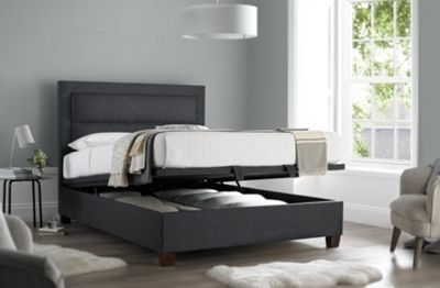 Happy Beds Hollywood Fabric Ottoman Storage Bed - Grey - 4ft6 Double