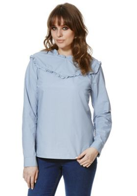 Vero Moda Ruffle Detail Cotton Blouse XS Blue