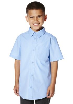 F&F School 2 Pack of Boys Easy Care Short Sleeve Shirts 8-9 years Blue