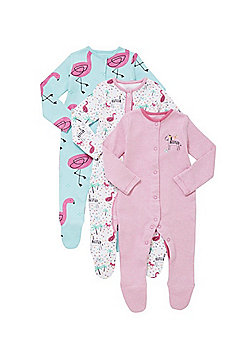 F&F 3 Pack of Zebra and Flamingo Print Sleepsuits - Pink & Multi